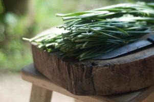 cebolinha alho na mesa de madeira foto