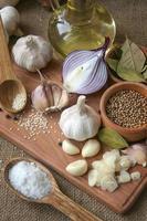 alho, cebola, coentro, pimenta, louro, sal marinho, azeite, foto