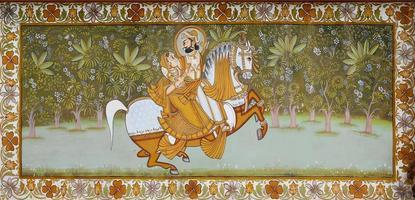 afresco indiano antigo representando o marajá de jodhpur foto