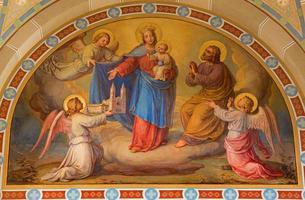 Viena - afresco de madonna na igreja de carmelitas foto
