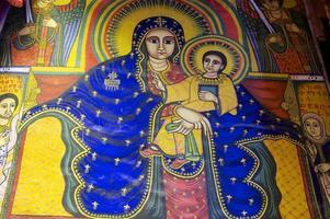 afresco antigo na igreja, aksum, Etiópia.