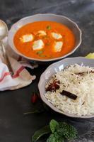 arroz e manteiga de paneer masala caril indiano foto