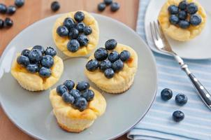 muffins de cheesecake com mirtilos foto