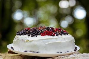bolo de frutas frescas foto