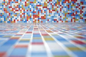 paisagem de azulejos coloridos.