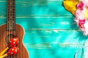 ukulele com fundo de estilo de Havaí foto