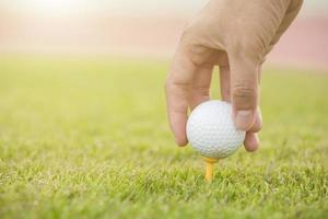 mão segure a bola de golfe com tee no curso, close-up foto