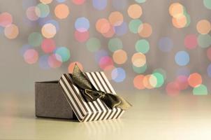 caixa de presente marrom.
