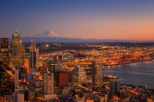 Vista aérea do centro de Seattle foto