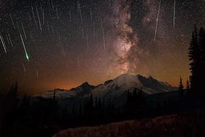meteoros e via láctea sobre o Monte Rainier