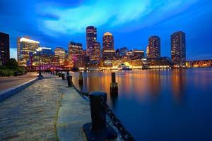 skyline do sol de boston no cais do ventilador massachusetts foto