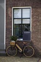 bicicleta, sinal de bed and breakfast, casa foto