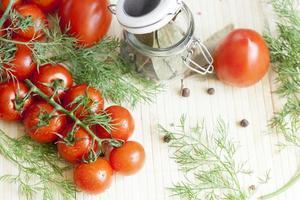 tomates em um galho foto