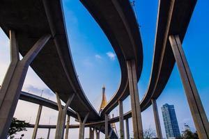 anel viário e ponte bhumibol no céu azul foto