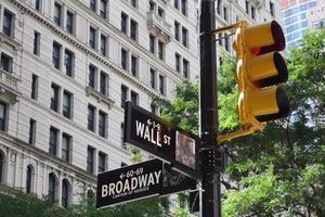 cruzamento de wall street / broadway em manhattan, nova york foto