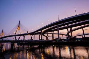 ponte de bhumibol de cena noturna, bangkok, tailândia