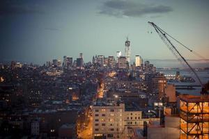 porto de nova york à noite foto