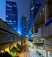 noite do distrito financeiro de hong kong foto
