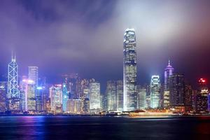 skyline da cidade da noite de hong kong foto