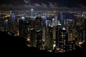 paisagem noturna de hong kong foto