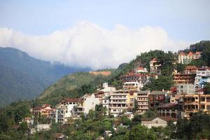 cidade do vale de sapa pela manhã, vietnã