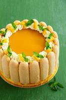 "delicioso bolo ""charlotte"" com manga e pêssegos. foto"