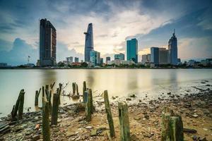 centro da cidade de saigon no pôr do sol (hdr), cidade de ho chi minh, vietnã