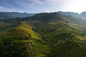 campos de arroz em terraços no pôr do sol no mu cang chai, foto