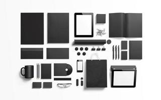 elementos de marca pretos pretos para substituir seu design foto