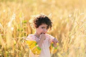 criança em um campo de trigo foto