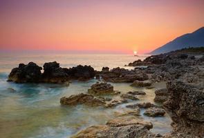 pôr do sol do mar