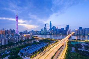 panorama da ponte de guangzhou liede foto