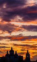 pôr do sol colorido foto