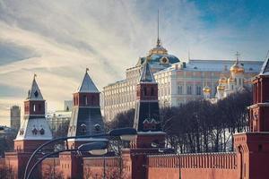 moscou catedral do kremlin paisagem de inverno aterro foto