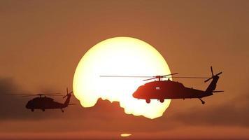 helicópteros pôr do sol