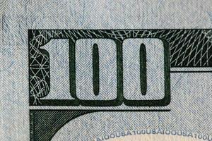 detalhe da nota de 100 dólares foto