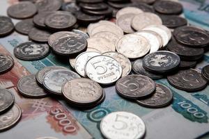 punhado de rublos russos foto
