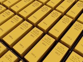 muitas barras de ouro ou lingote foto