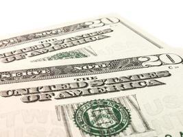 duas notas de 20 dólares americanos foto
