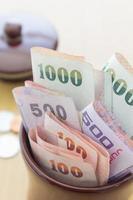 dinheiro tailandês em jar foto