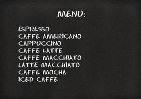 menu de café