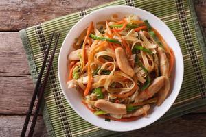 chow mein close-up. visualização horizontal de cima foto