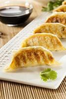potstickers vegetarianos asiáticos caseiros foto