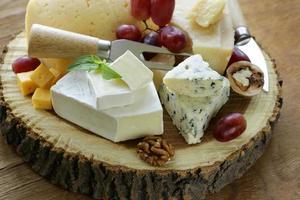 tabuleiro de queijos com queijos variados (parmesão, brie, azul, queijo cheddar) foto