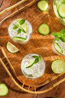 refrescante água gelada com limão foto