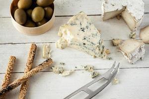 queijo azul e de cabra