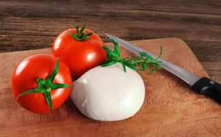 queijo mussarela com tomate e alecrim. foto