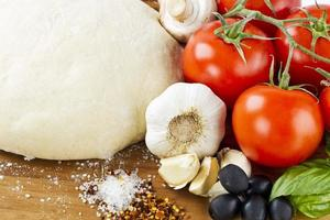 ingredientes da pizza close-up foto
