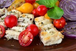 queijo feta grelhado close-up foto