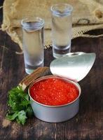caviar com pão de centeio e duas doses de vodka foto